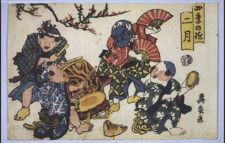 Keisai Eisen: Amusements in the Four Seasons: Second Month - Edo Tokyo Museum