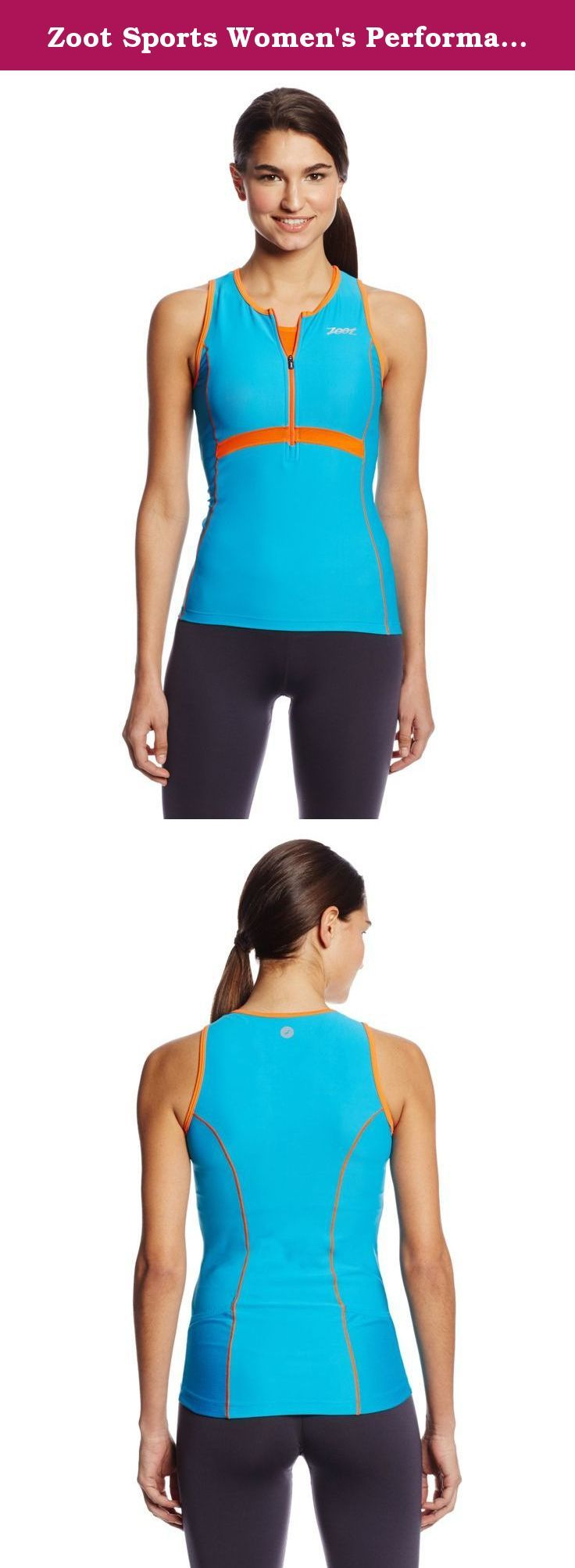 Zoot Sports Women's Performance Tri Tank,Splash/Flame,Medium. By design races are long and hard. And, by design, Zoot's triathlon apparel keeps you supported through all of it.