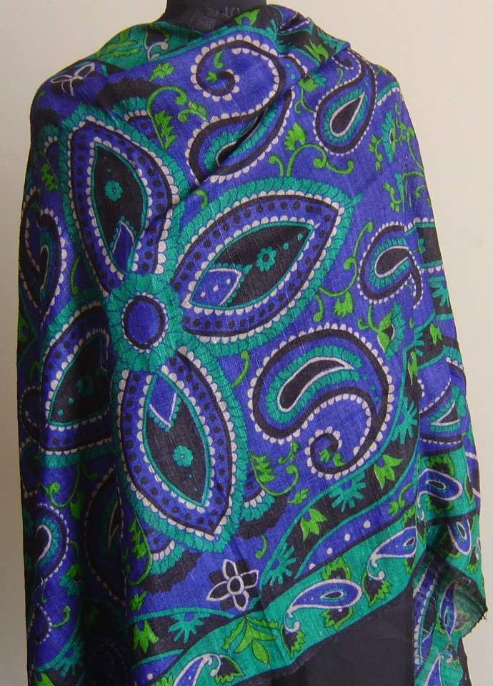 Hand printed Ghicha Tussar dupatta.For orders and inquiries, please mail us at naari@aninditacreations.com.  Like our page www.facebook.com/naari.aninditacreations