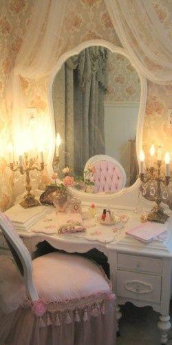 romantic decor | Vanity ... fairytale princess inspired pink & white boudoir