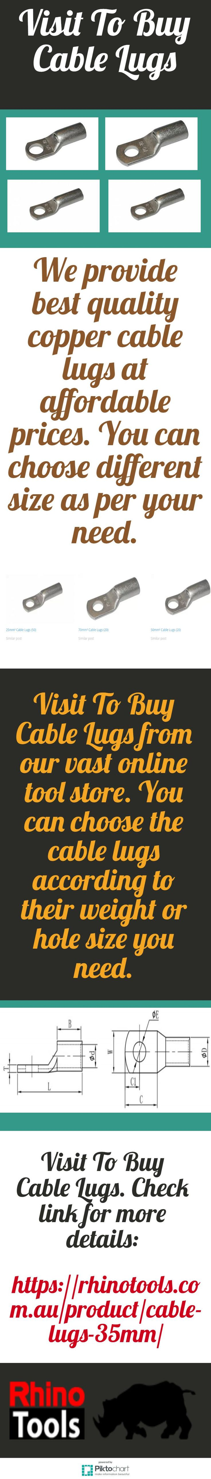We provide best quality copper cable lugs at affordable prices. You can choose different size as per your need. Visit To Buy Cable Lugs. Check link for more details: https://rhinotools.com.au/product/cable-lugs-35mm/