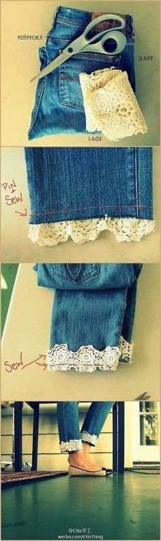 Damn, now I want to knit lace trim for my jeans! Photo Place: Lace Jeans