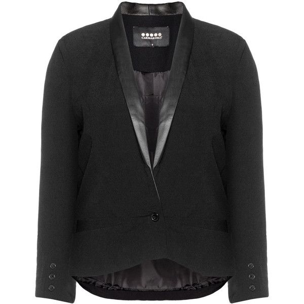 Carmakoma Black Plus Size Faux leather lapel blazer ($85) ❤ liked on Polyvore featuring outerwear, jackets, blazers, black, plus size, womens plus size jackets, tuxedo jacket, blazer jacket, slim blazer and plus size faux leather jacket