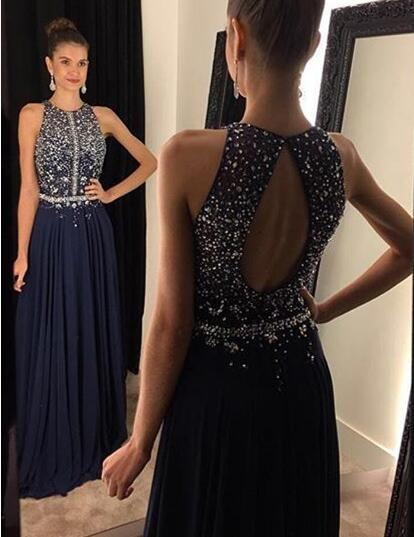 Halter Floor Length Beaded Evening Dresses Prom Gowns Keyhole Back pst0101 on Storenvy