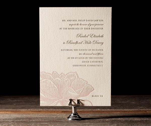 Amy Graham Stigler's Pavilion is soft, delicate and romantic floral letterpress for sweet and chic wedding invitations that wow.