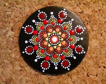"Hand Painted Wood Magnet Dot Art Pointillism Gift Idea ""Sunburst"""