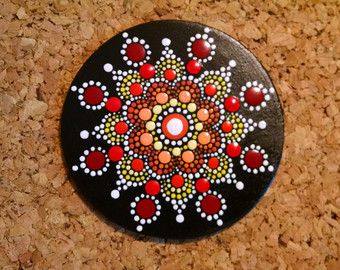 Wood Magnet~ Hand Painted by Miranda Pitrone  Coral and Burgundy Wine Flower Mandala /Gift Idea Boho Dot Art