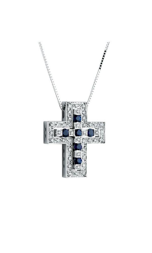 Belle Époque white gold, diamonds and sapphires cross necklace
