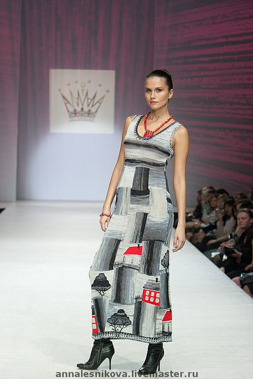 """Купить Сарафан """" Домики"""" - вязаное платье, трикотажное платье, платье вязаное"""