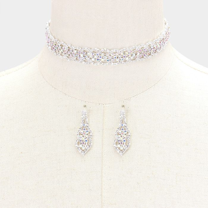 """14"""" crystal choker collar Necklace 1.50"""" earrings .50"""" wide prom"""