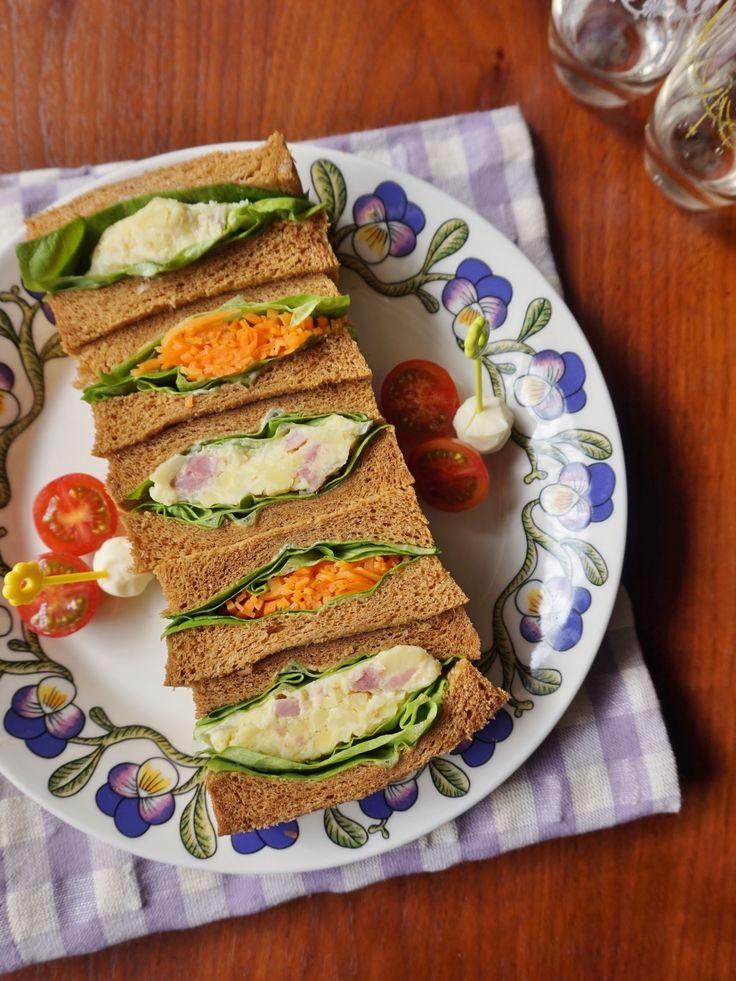 切り口キレイ!食べ応え満点のボリュームサンドイッチまとめ Nadia編集 ... ベーコンポテサラとキャロットラぺのサンドイッチ