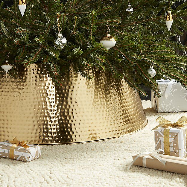 Bash Gold Tree Collar. No more fighting with a wrinkly tree skirt! We love these gorgeous tree collars for hiding those ugly tree stands. It's great for homes with little ones!