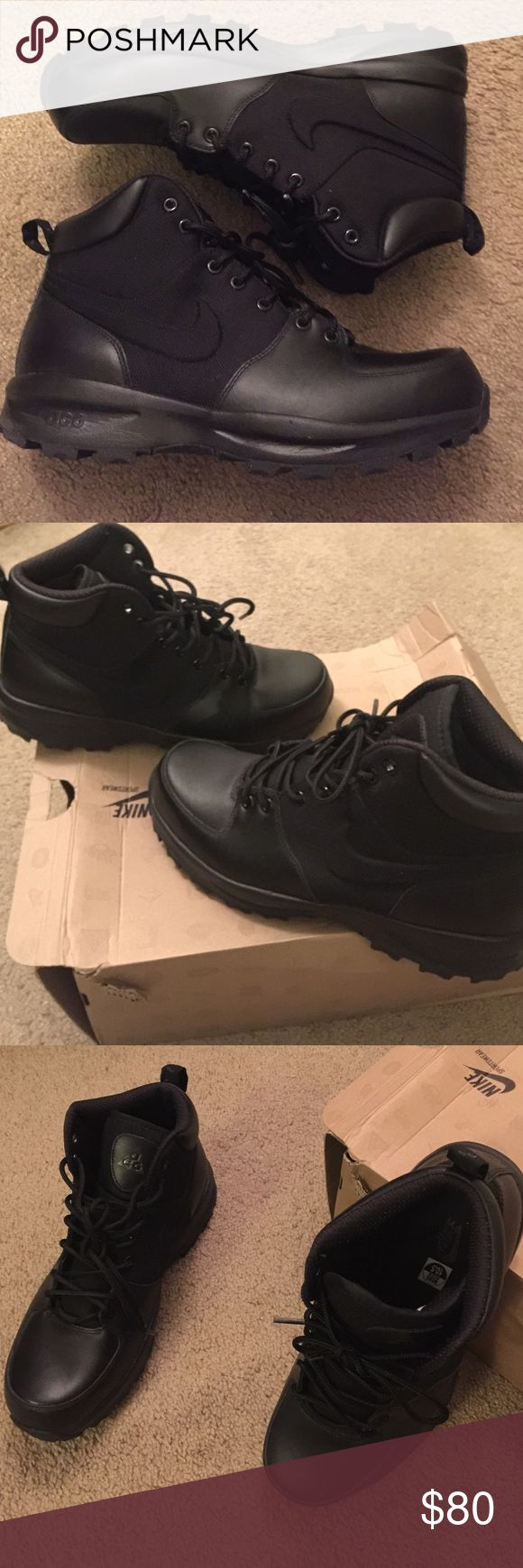 $10off Today only was $85 Nike Manoa Boots (ACG) Will change price if you want them ... All black Nike boots worn once in NEW!!! condition. No trades Nike Shoes Boots