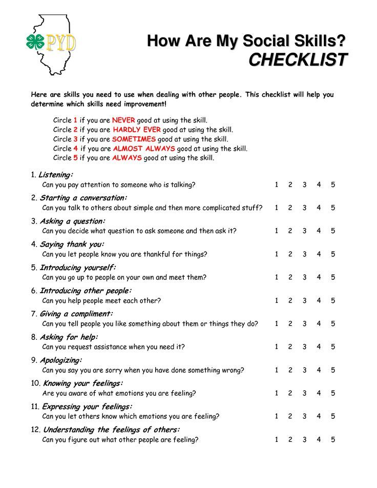 How Are My Social Skills Checklist? A self-rating ...