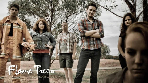 Flame Trees publicity shot with cast.  L-R: James Mason, Sally McLean, Wayne Tunks, Matthew Candeland, Sarah Berryman & Hannah Gott