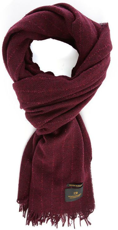 $58, Scotch And Soda Burgundy Relief Fringing Woollen Scarf. Sold by Menlook. Click for more info: https://lookastic.com/men/shop_items/347208/redirect