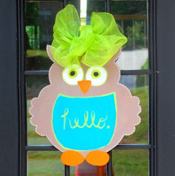 Door Hanger Owl Door Decoration by LooLeighsCharm on Etsy, $45.00