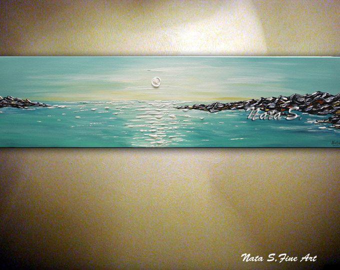 """Turquesa marino pintura abstracto marino paleta cuchillo montaña verde azulado mar pintura grande de arte hogar oficina decoración 48"""" Nata s."""