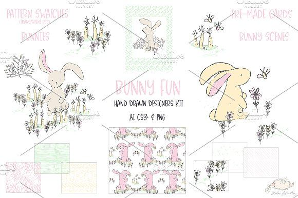 Bunny Fun Spring Summer Vector PNG by Studio Julie Ann on @creativemarket