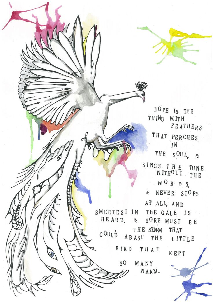hope by emily dickinson The brief that was given was to create a series of prints based on lyrics or poems and experiment with layers and colour i chose to illustrate a series of poems and present them in pinch.
