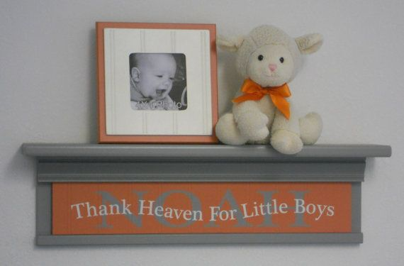 Etsy - Gray Orange Baby Nursery Room / Wall Decor 24 Grey by NelsonsGifts