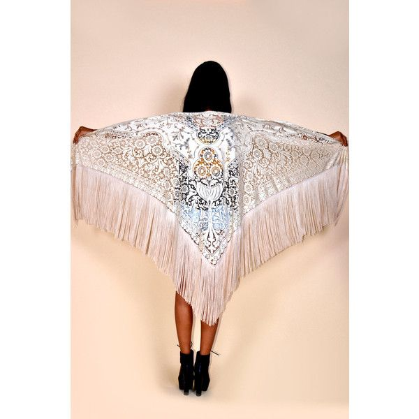 Vtg 70s Coachella Crochet Lace Huge Fringe Hippie Boho Festival Cape... (170 BGN) ❤ liked on Polyvore featuring outerwear, ponchos, silver, women's clothing, wrap cape, pink cape coat, wrap cape coat, poncho cape coat and fringe poncho