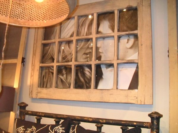 Antique Window Pane Frame with photo behind it! LOVE this!