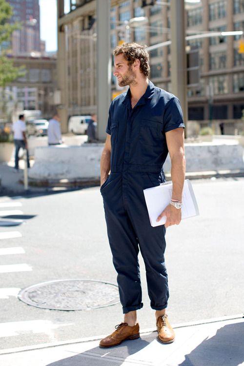 navy blue boiler suit.