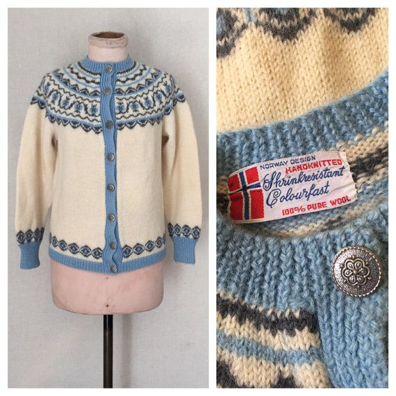 Norwegian cardigan // 1960s Fair Isle Folk by HoneyBlossomVintage