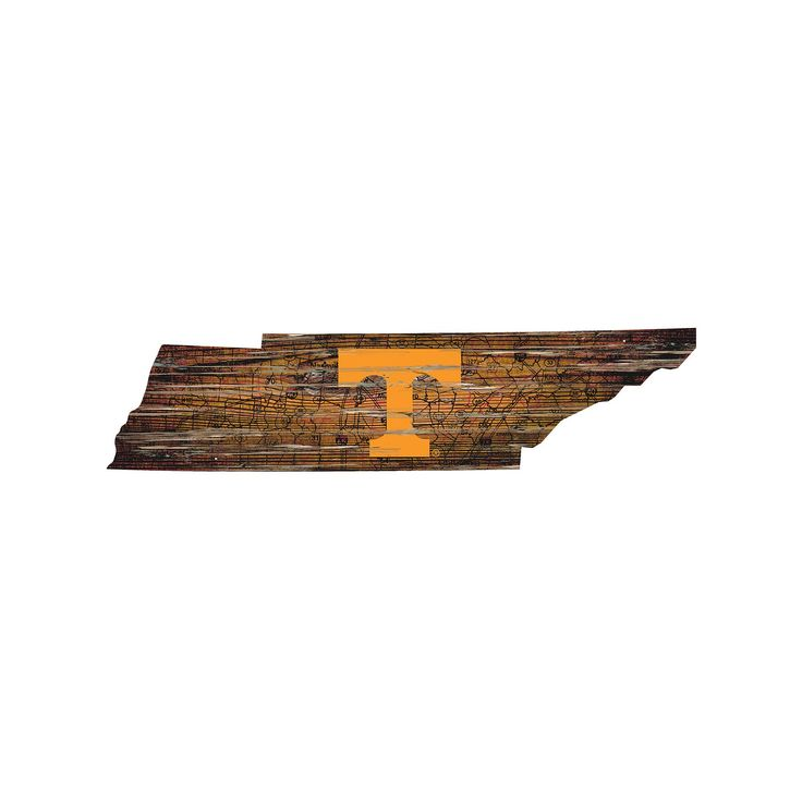 """Tennessee Volunteers Distressed 24"""" x 24"""" State Wall Art, Multicolor"""