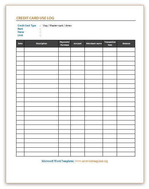 credit card use log template save word templates diy planner pinterest. Black Bedroom Furniture Sets. Home Design Ideas