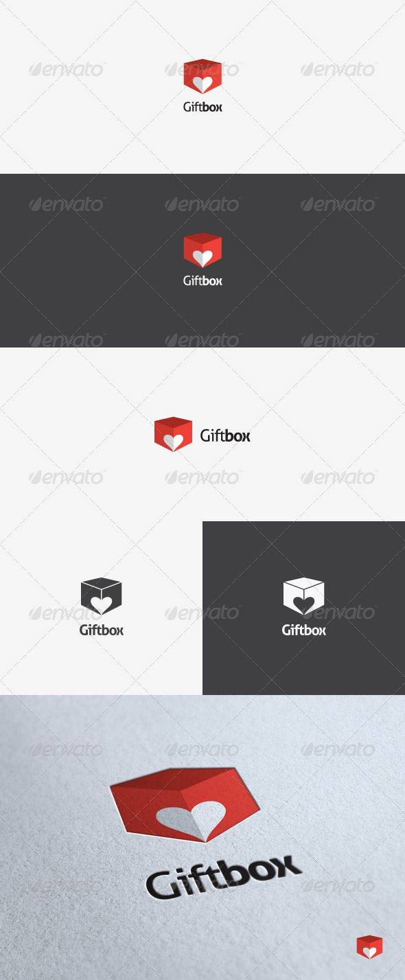 smart logo design combined 'heart' and 'box' symbol  #symbol #website • Available here → http://graphicriver.net/item/gift-box-logo-template/2858479?s_rank=31&ref=pxcr