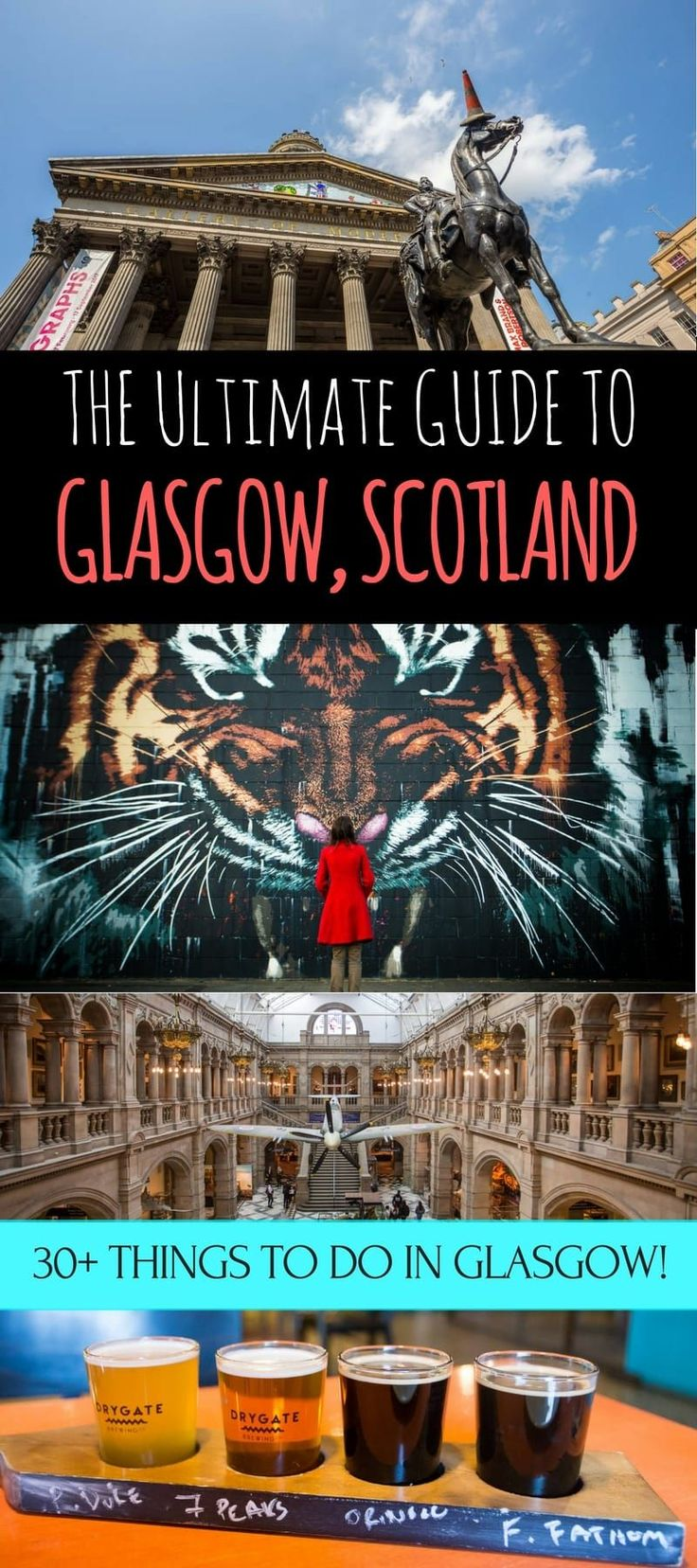 A guide to visiting Glasgow Scotland, Scotland's largest city. Our guide will help you decide how to get around, things to do in Glasgow, where to eat, where to drink, and how to make the most of your time in Glasgow! #Glasgow #Glasgowguide #Scotland #travel