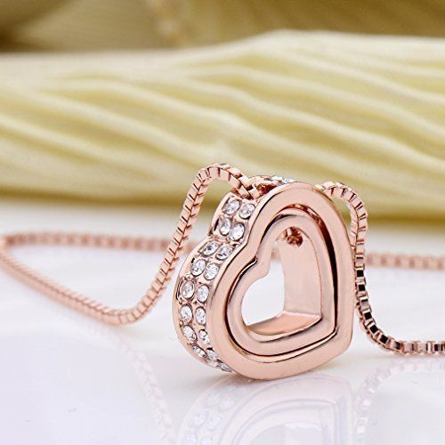 Mothers Day Gifts Gift For Mother Mom Necklace Pendant Double Heart Rose Gold #Kbrand