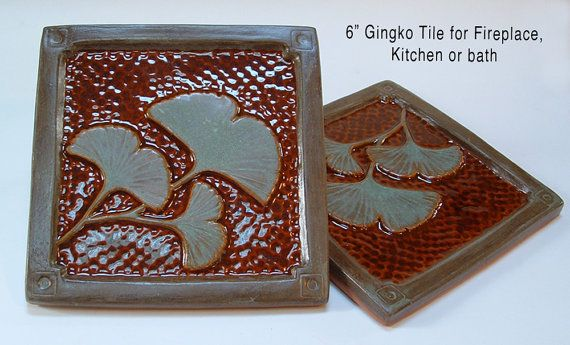 6 inch Ginkgo Leaf Arts and Crafts tile by Fay Jones Day Tile, for fireplace kitchen and bath. made in Oregon https://www.etsy.com/listing/188744511/6-inch-gingko-ginkgo-leaf-arts-and