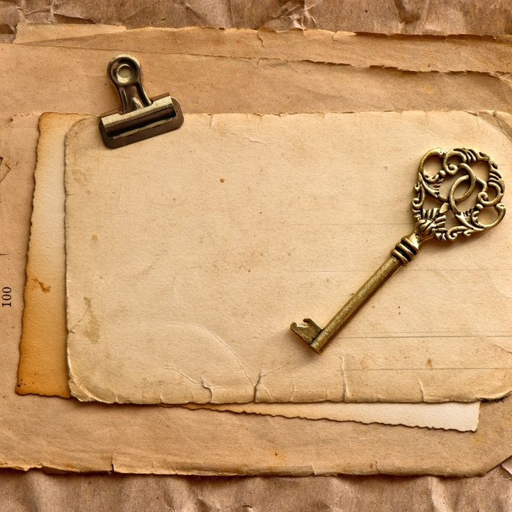 Vintage papers and key