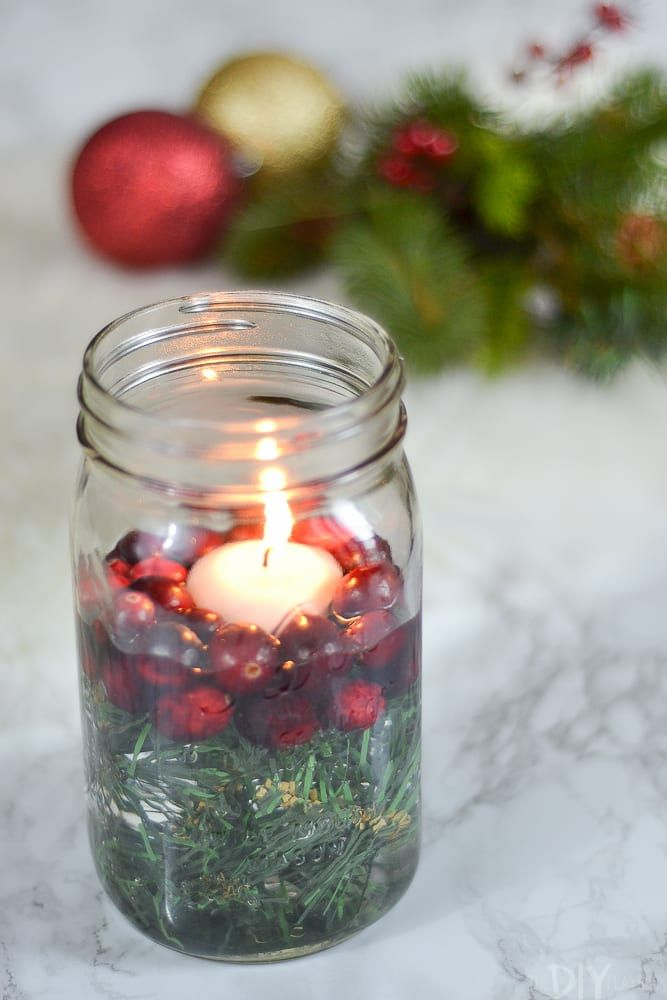 How To Make A Mason Jar Christmas Candle Holder The Diy Playbook Mason Jar Candles Christmas Christmas Candle Decorations Christmas Jars