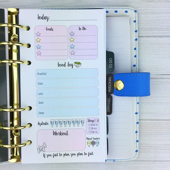 PERSONAL SIZE Planner Insert  Pastel Fitness by SweetKawaiiDesign