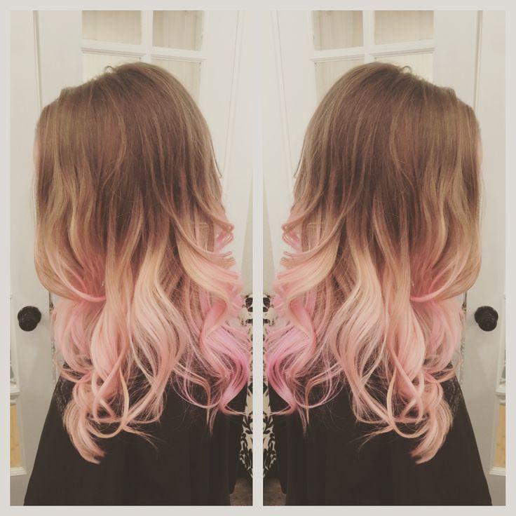 Image result for gradient hair brown blonde pink
