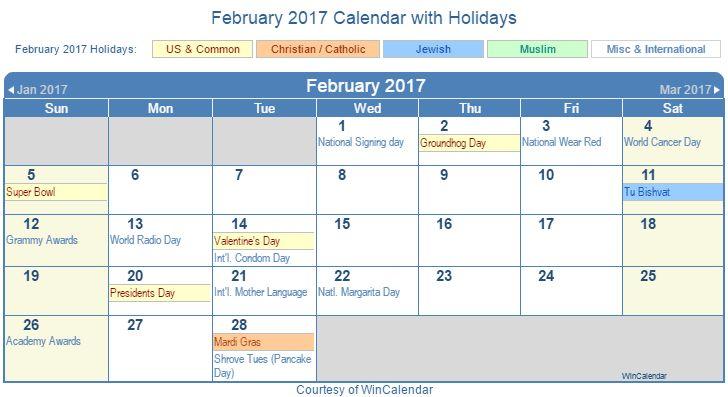 February 2017 Calendar with Holidays - United States