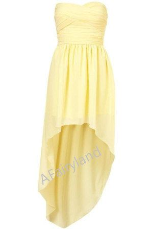 light yellow chiffon bridesmaid dress party dress with pleat in knee-length on Etsy, $78.00