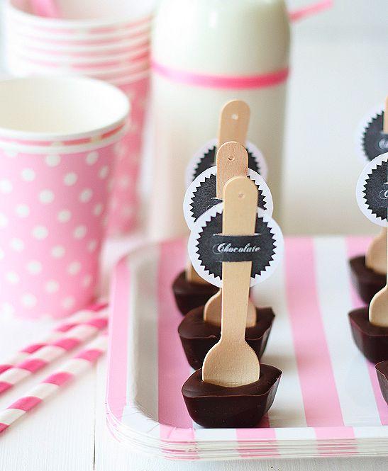 la decoración de mis mesas: Ideas para fiestas: Cucharas con chocolate