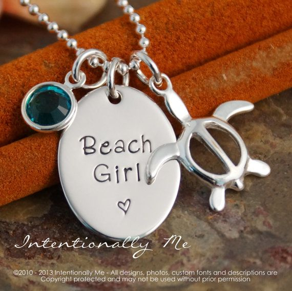 Personalized Jewelry - Hand Stamped Custom Jewerly - Sterling Silver Necklace - Beach Girl with Turtle and birthstone