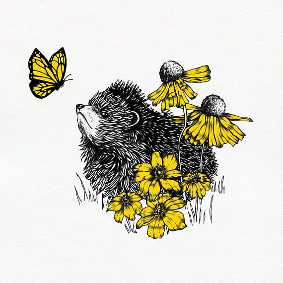 Hedgehog& Butterfly art print  Limited edition  12 x