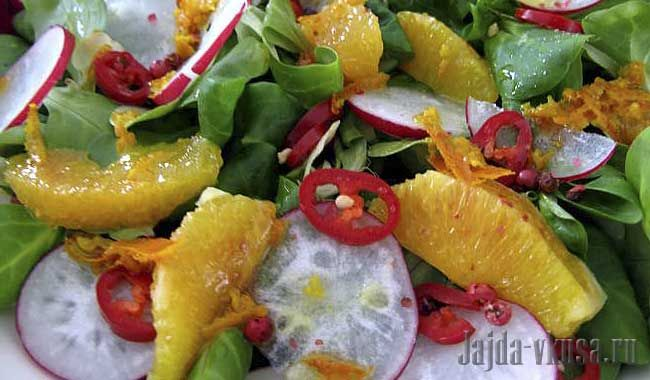 Салат из редиса с апельсином