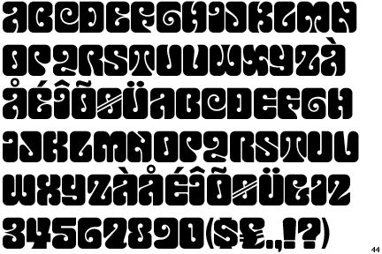 Font 'Love Solid' widely used in hand-lettered psychedelic posters in the 1960s