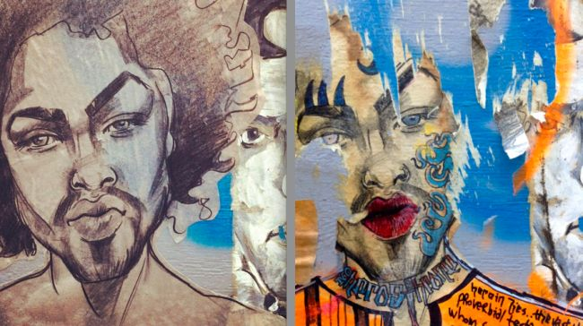 Evolution of a #wheatpaste. Portrait of @Thane Bruckland Koi, one year later