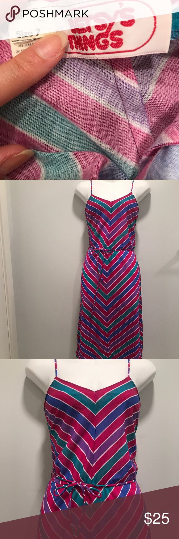 Retro multi Color Spaghetti Strap Dress Blast from the past with sass! Excellent fit and exploring with style. Matching belt included! Hello 70s!!Bust: up to 36 in. --------------------Waist: up to 34 in. -------------------shoulder to hem: about 44 in. betsy's things Dresses Midi