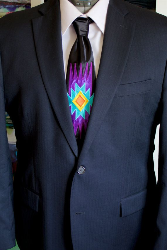 Native Style Appliqué Necktie by FeralFawn on Etsy