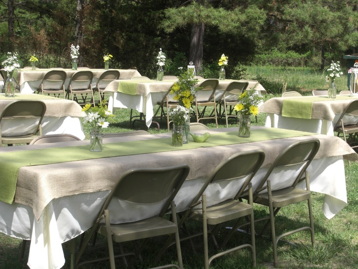 Table Setting Idea. Burlap Tablecloth With A Lime Green Table Runner Over  White.